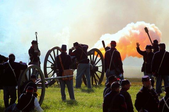 Annual Gettysburg Reenactment: FIRE! Cannon blast from Union artillery.