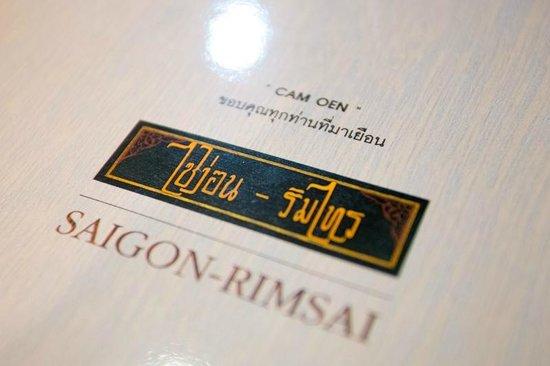 Saigon Rim Sai : ปกหลังเมนูครับ