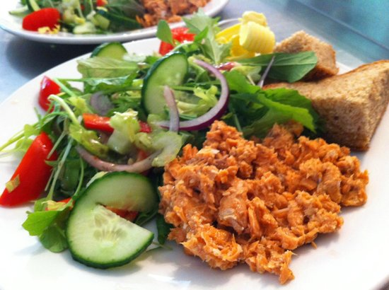 Cote How Organic Tea Room: The Wild Red Salmon salads made with our own homegrown leaves are flying out this Summer!