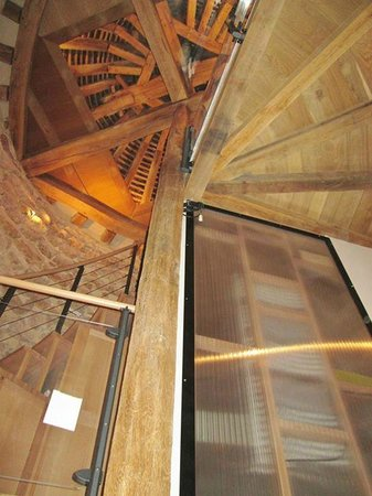 Le Manoir Equivocal : View looking up in the Dovecote. That's the totally modernized bathroom on the bottom right