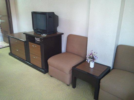 Rothman Hotel: テーブル、椅子、テレビ