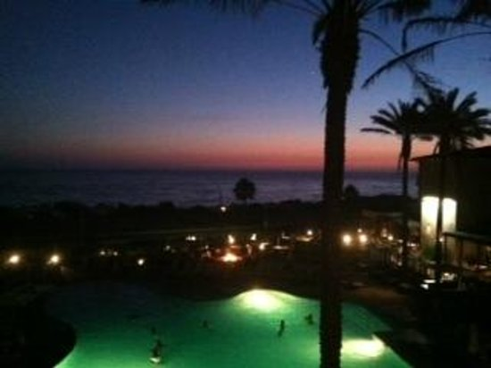 Cape Rey Carlsbad, a Hilton Resort: sunset view from oceanfront room on top floor overlooking view