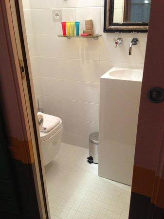 Hotel Crayon by Elegancia : O banheiro é bem pequeno, mas é uma gracinha! Eles oferecem shampoo, condicionador, sabonete....