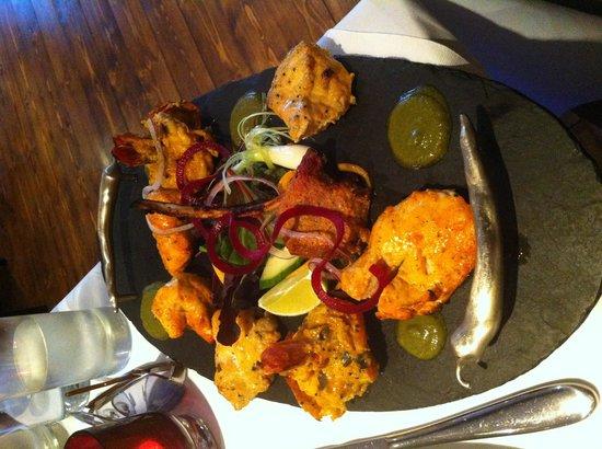 Zayka platter for main course (prawns, chicken tikka, salmon, lamb chop)