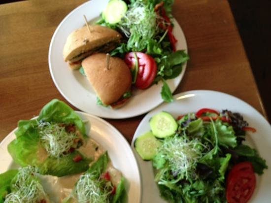 Frankie and Lola's : top: roasted chicken sandwich & side salad; left: whodamame on butter lettuce & side salad