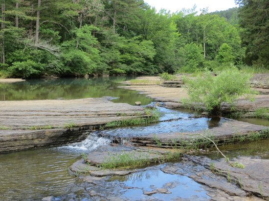 Ozark Mountains: Upstream from Haw Creek Falls is located in Haw Creek Falls campground