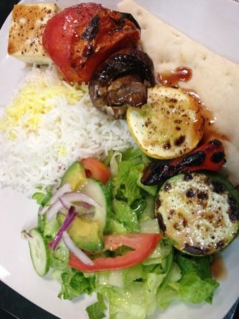 Moustache Cafe: vegetarian kabab with rice and salad