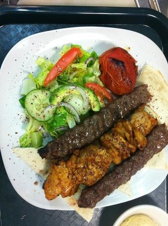 Moustache Cafe: combination of chicken kabab and ground chuck with our fresh salad and bread