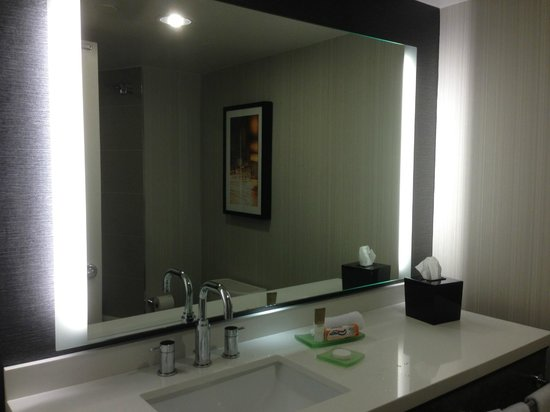 Hyatt Regency Princeton: Newly updated bathroom, nicely sized and soothingly lighted with night light LEDs under the mirr