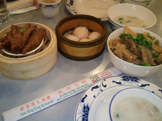 New Hong Kong Restaurant : From top left to righ: chicken feet, sui mai, tendons with bamboo, and congee in the lower right