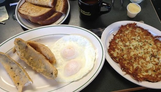 DJ's North Woods Family Restaraunt: walleye and eggs with potato pancake on the side