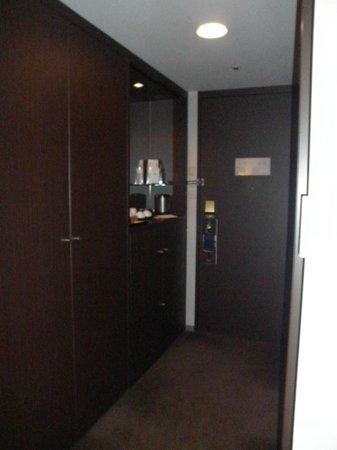 Hilton Nagoya: room entrance and mini bar