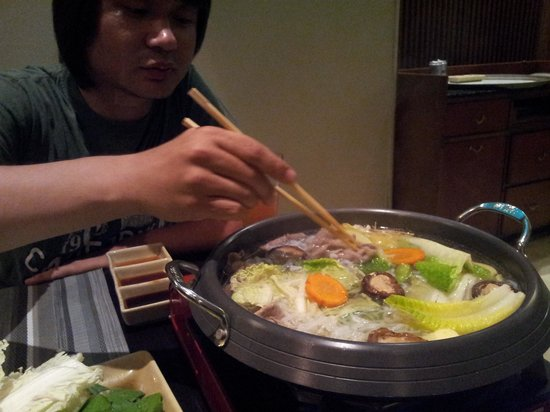 Shangri-La's Rasa Ria Resort & Spa: My husband is making dinner for me in Japanese Teppanyaki Restaurant