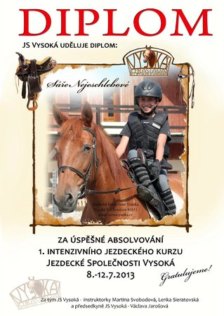Hotel Farma Vysoka: diplom from the riding class