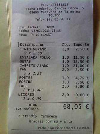 Talavera de la Reina, Spanien: la cuenta para dos personas. ustedes deciden.