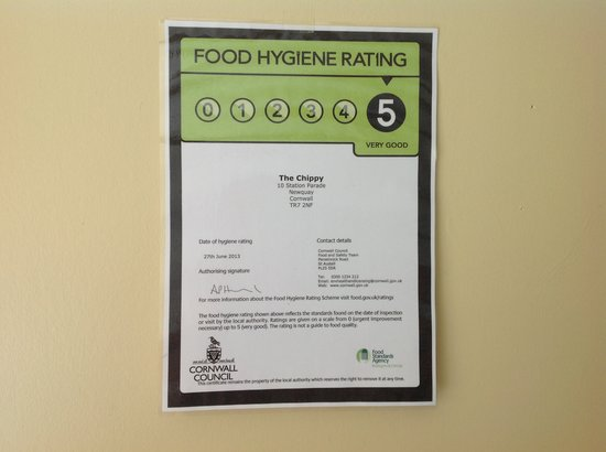 Congratulations to all the staff at the chippy for  helping us get the five star award