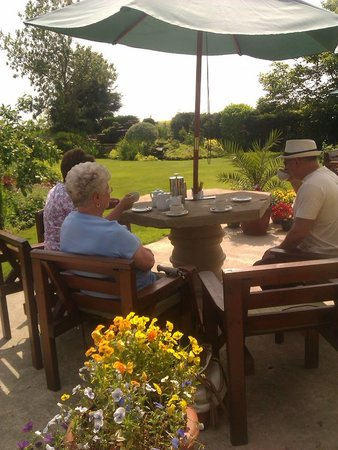 Stained Glass Centre: Enjoying tea in the gardens