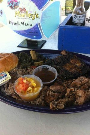 Marley's : Jerk chicken and pork combo with an umbrella!