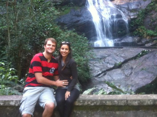 Rio Alternative Tour: Us and waterfall at Tijuca National Forest