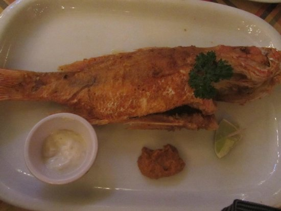 Papa Zouk: Pan Fried Red Snapper, served with a side salad