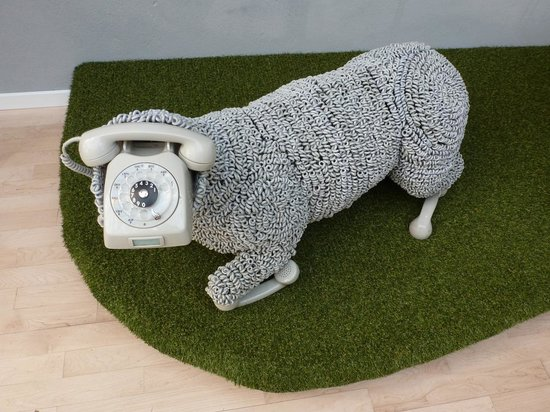 Post & Tele Museum: A sheep made from phones and phone-cables