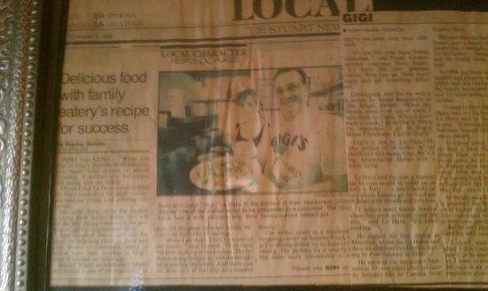 Gigi's Italian Restaurant: Stuart News circa 1990