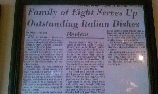 Gigi's Italian Restaurant: Miami Post Circa 1983