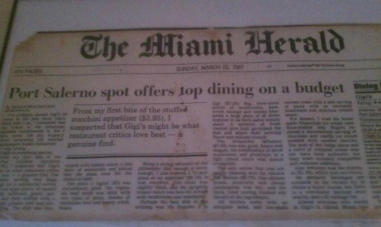 Gigi's Italian Restaurant: Again, Miami Herald