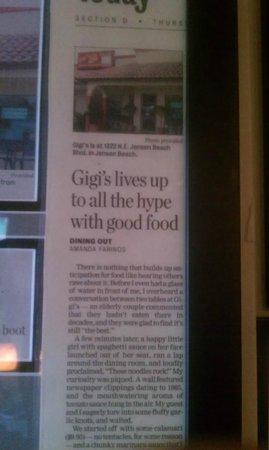 Gigi's Italian Restaurant: Stuart News 2012