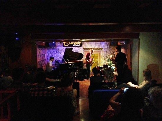 Gregory's Jazz Club: The bartender ran upstairs to join the band for a spell...
