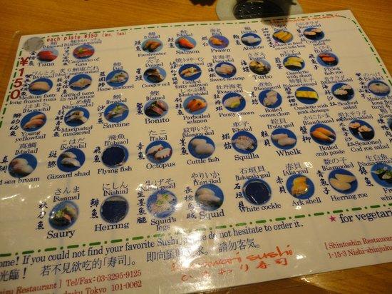 Himawari Zushi Shintoshin: English menu