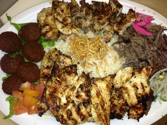 Beirut Restaurant: Falafel and chicken breast, with meat shawarma