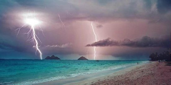 Kailua Beach Park: A somewhat photoshop accented Kailua Beach during a storm
