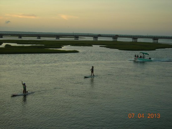 Comfort Suites Chincoteague: view off balcony of Chincoteague Bay and causeway