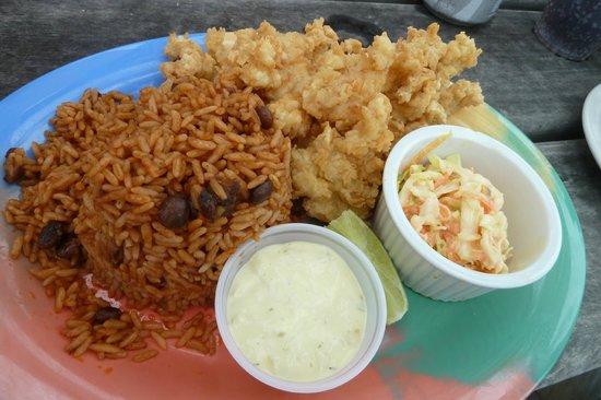 Banana Bay : peas n' rice and cracked conch--yum!