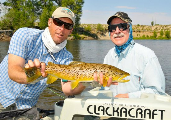 Grand Teton Fly Fishing: Scott Smith and client with a nice Brown Trout