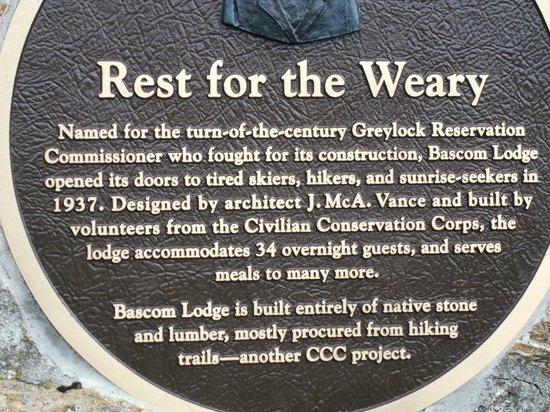 Bascom Lodge: Description on the outside of the Lodge