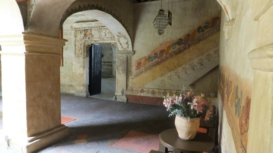 Quinta Real Oaxaca: The lobby. You can see the original painting from the nuns on the walls