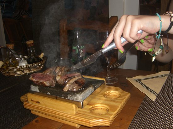 Asador On Egin: Cooking duck at the table on hot stones, great fun