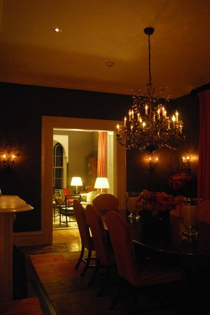 E.B. Morgan House: Glowing dining room in the evening.