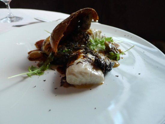 Caviar Russe : Wild Striped Bass (Potato, Miso, Black Truffle, Mizuna)