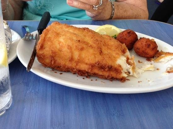 Surf Rider Restaurant: This is a piece of the flounder....light and fresh!
