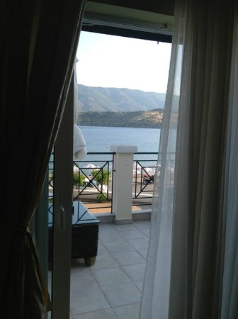 Aegean Villas: looking towards the balcony from inside