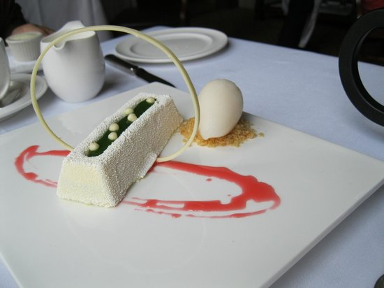American Bounty: White chocolate mousse cake with capari syrup and grapefruit sorbet