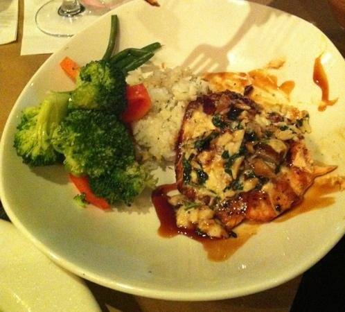 Bonefish Grill: Dynamite King Salmon which is a grilled filet, topped with lump crab meat, spinach and mushrooms