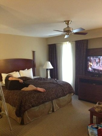 Staybridge Suites North Charleston: comfy King size bed and large screen tv.