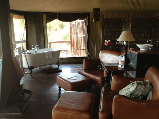 Camp Shonga: Living area/tub