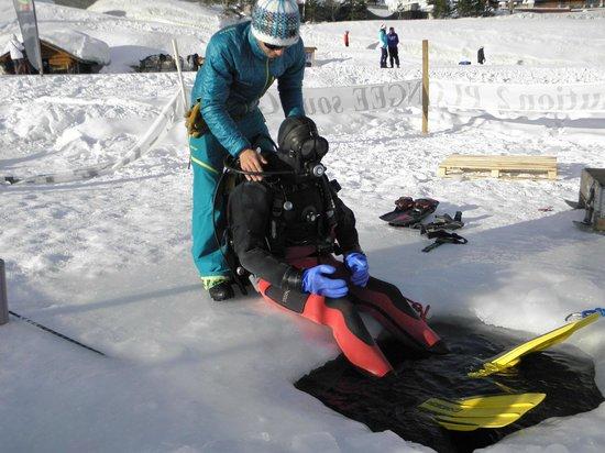Ecole de plongée sous glace de Tignes : Préparatifs