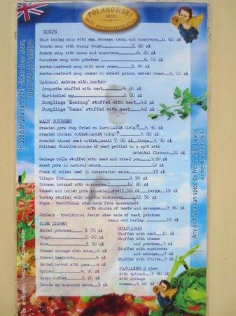 Polakowski Self Service Restaurant: menu in english
