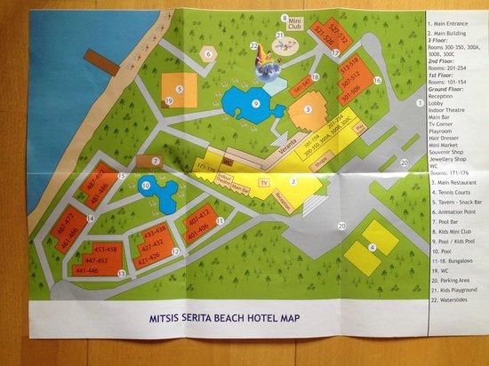 Anissaras, Grèce : Map of the Serita Beach Hotel